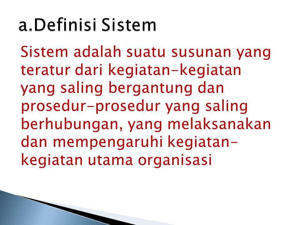 a.Definisi Sistem Sistem adalah suatu susunan yang teratur dari kegiatan-kegiatan yang saling bergantung dan prosedur-prosedur yang saling berhubungan