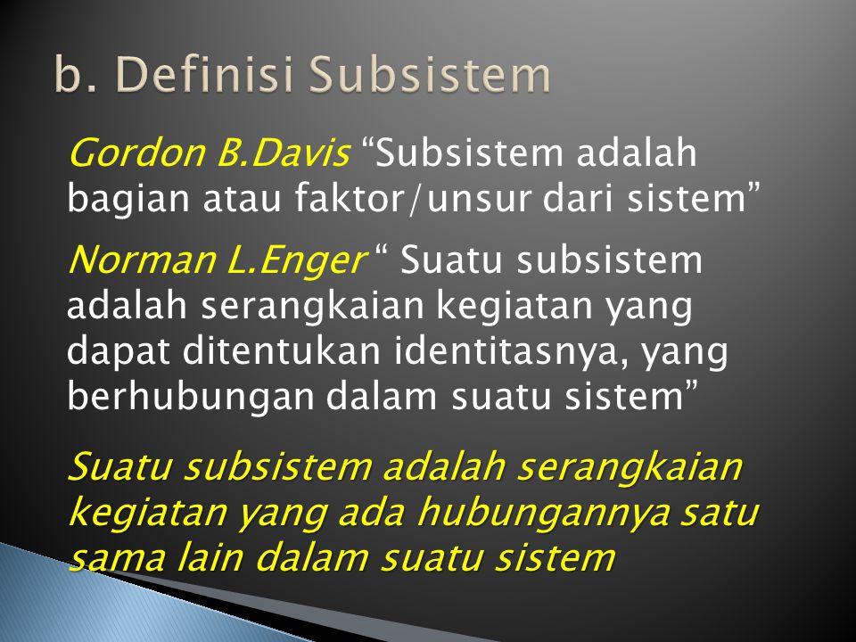 "Gordon B.Davis ""Subsistem adalah bagian atau faktor/unsur dari sistem"" Norman L.Enger "" Suatu subsistem adalah serangkaian kegiatan yang dapat ditentu"