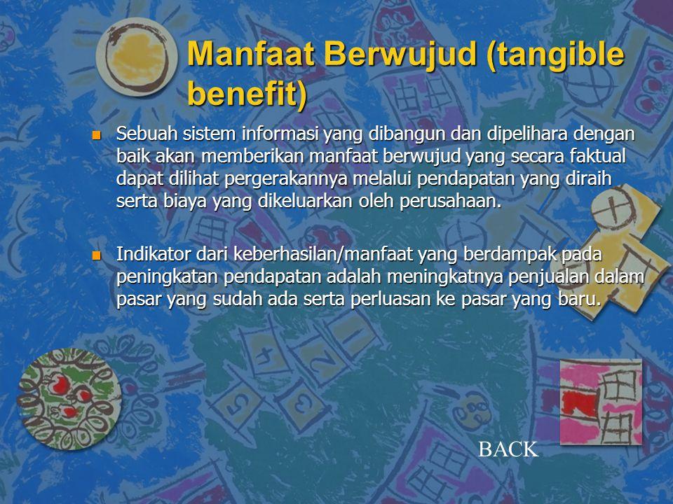 Manfaat Berwujud (tangible benefit) n Sebuah sistem informasi yang dibangun dan dipelihara dengan baik akan memberikan manfaat berwujud yang secara fa