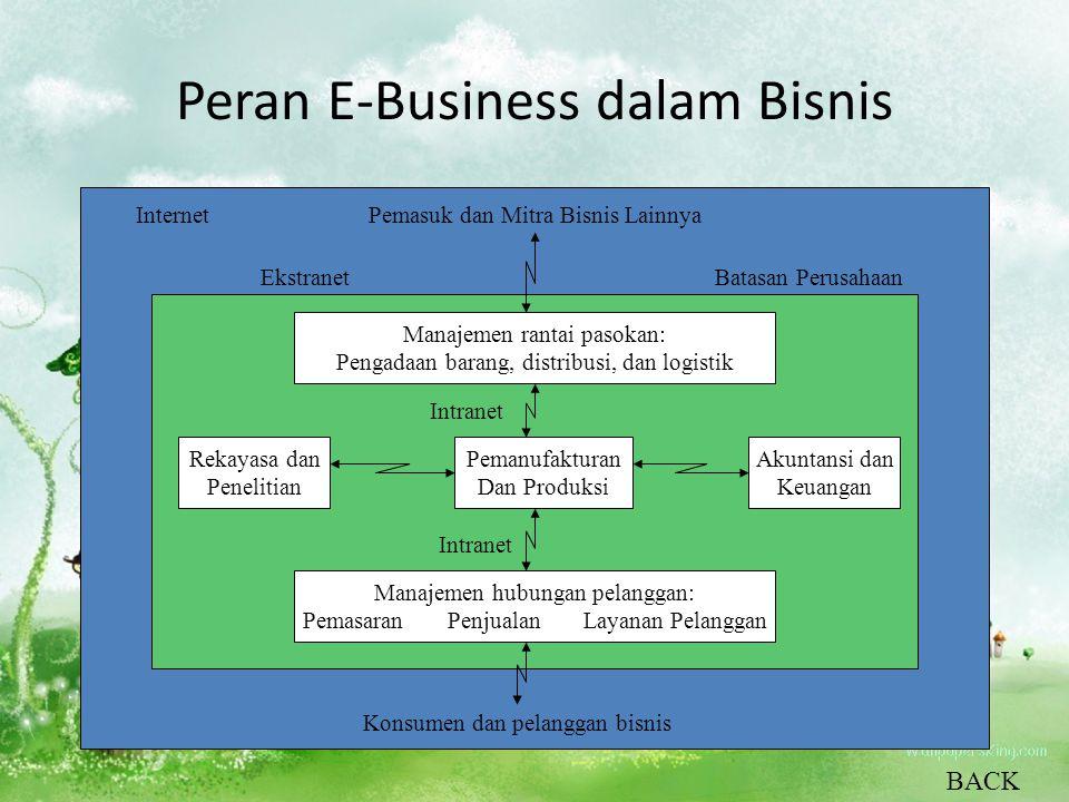 Peran E-Business dalam Bisnis Pemanufakturan Dan Produksi Rekayasa dan Penelitian Akuntansi dan Keuangan Manajemen hubungan pelanggan: Pemasaran Penju