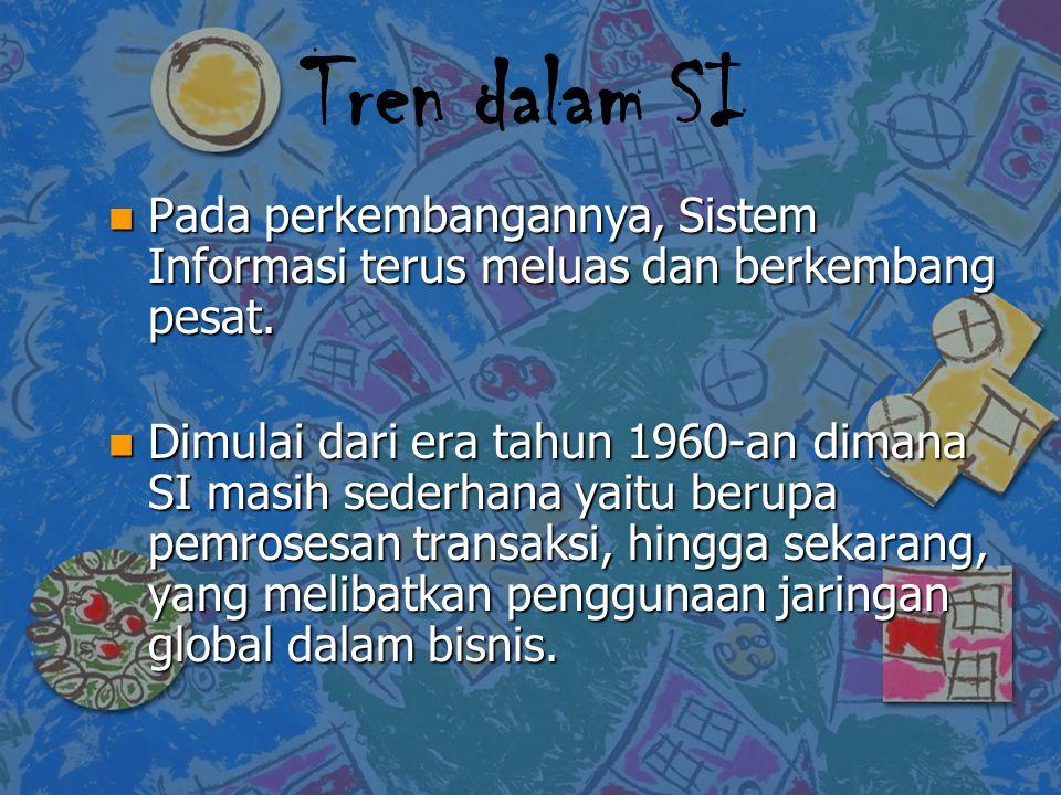 Tren dalam SI n Pada perkembangannya, Sistem Informasi terus meluas dan berkembang pesat. n Dimulai dari era tahun 1960-an dimana SI masih sederhana y
