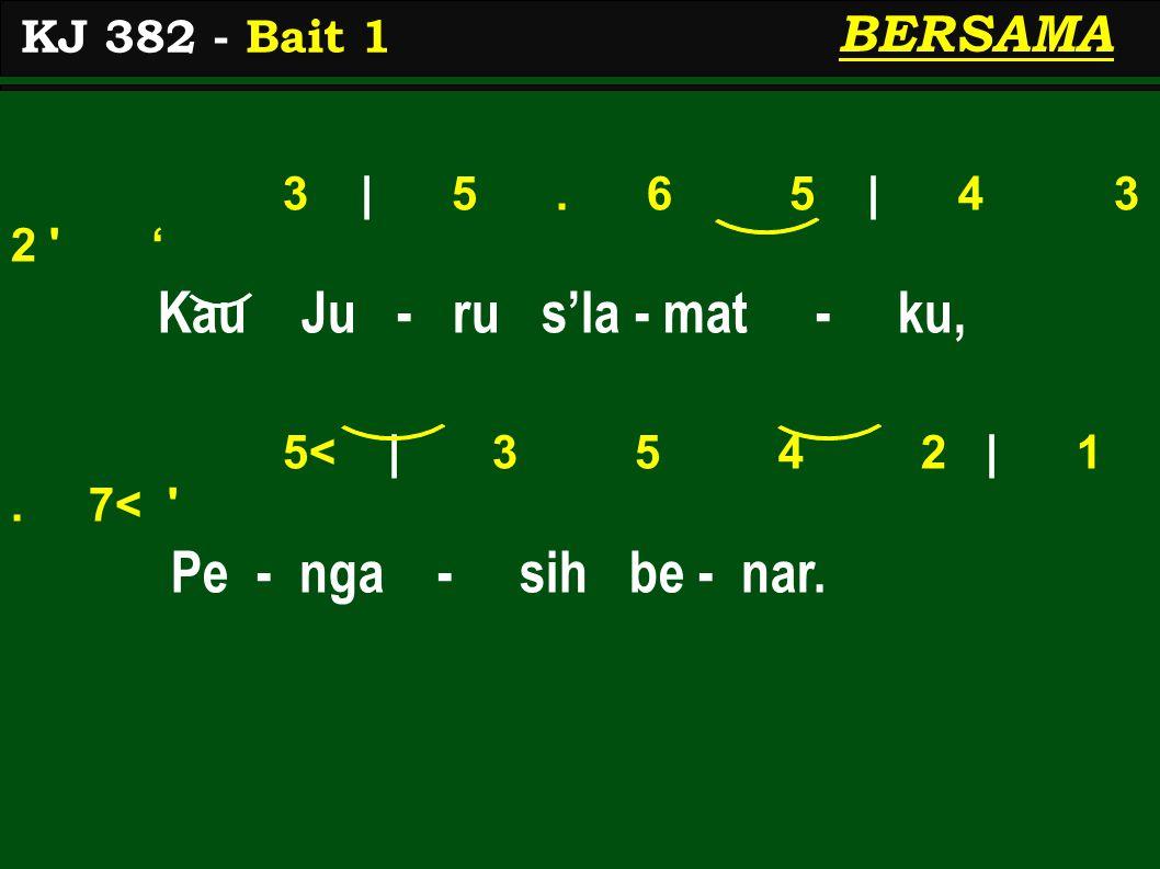 3 | 5. 6 5 | 4 3 2 ' Kau Ju - ru s'la - mat - ku, 5< | 3 5 4 2 | 1.