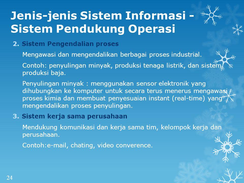 Jenis-jenis Sistem Informasi - Sistem Pendukung Operasi 2.Sistem Pengendalian proses Mengawasi dan mengendalikan berbagai proses industrial.