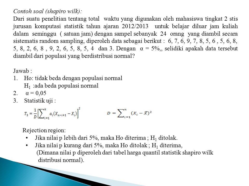 Contoh soal (shapiro wilk): Dari suatu penelitian tentang total waktu yang digunakan oleh mahasiswa tingkat 2 stis jurusan komputasi statistik tahun a