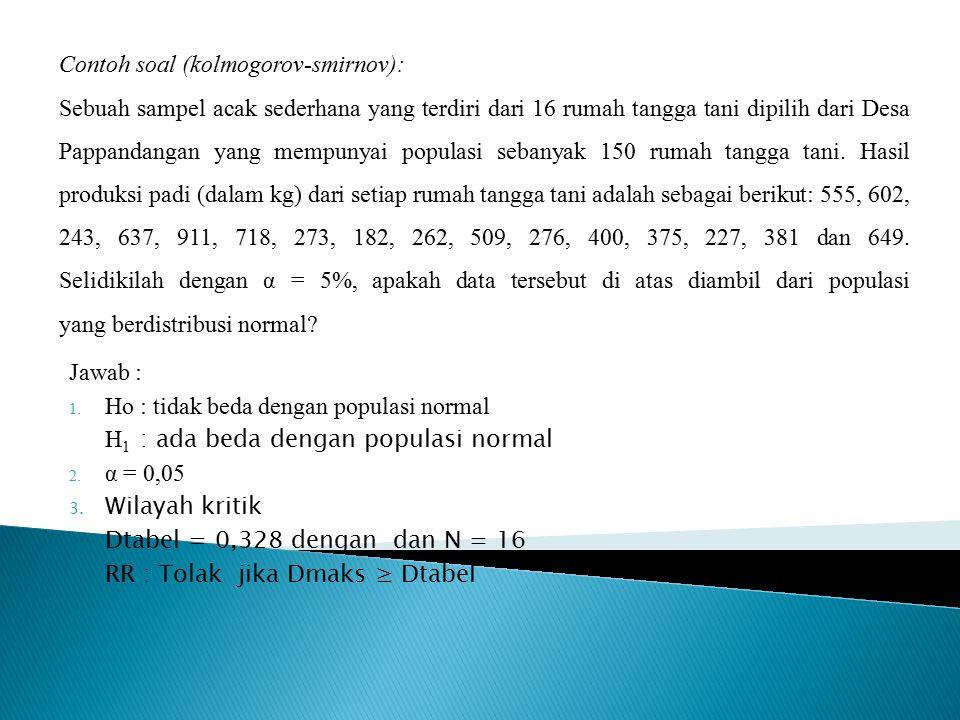 Jawab : 1. Ho : tidak beda dengan populasi normal H 1 : ada beda dengan populasi normal 2. α = 0,05 3. Wilayah kritik Dtabel = 0,328 dengan dan N = 16