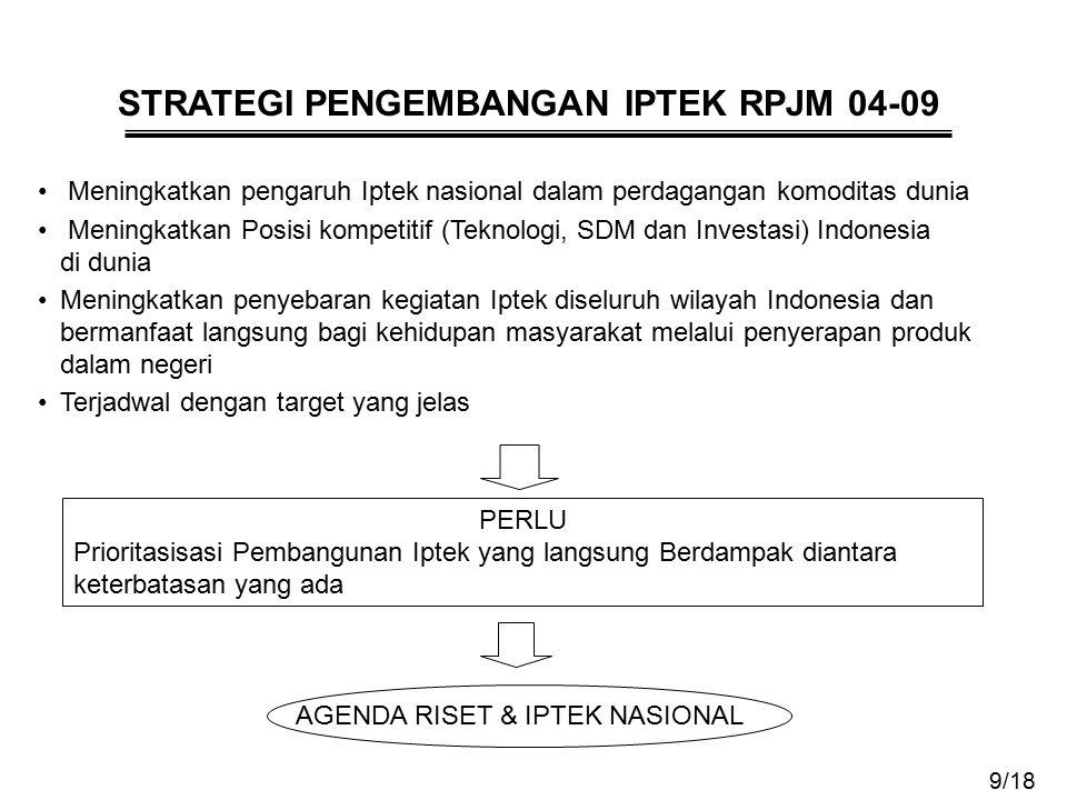 STRATEGI PENGEMBANGAN IPTEK RPJM 04-09 Meningkatkan pengaruh Iptek nasional dalam perdagangan komoditas dunia Meningkatkan Posisi kompetitif (Teknolog