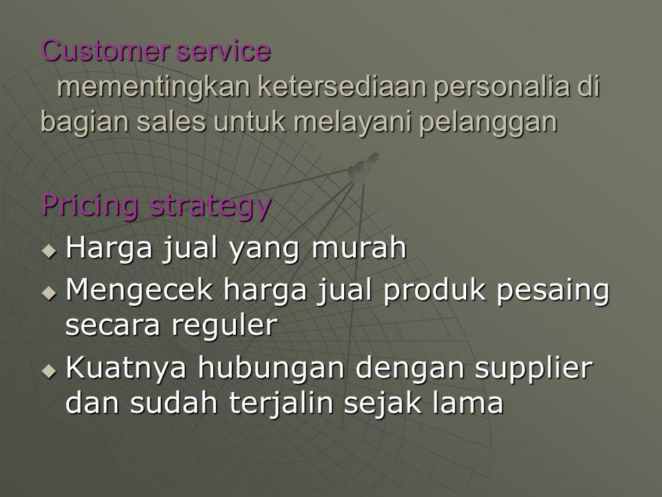 Customer service mementingkan ketersediaan personalia di bagian sales untuk melayani pelanggan Pricing strategy  Harga jual yang murah  Mengecek harga jual produk pesaing secara reguler  Kuatnya hubungan dengan supplier dan sudah terjalin sejak lama