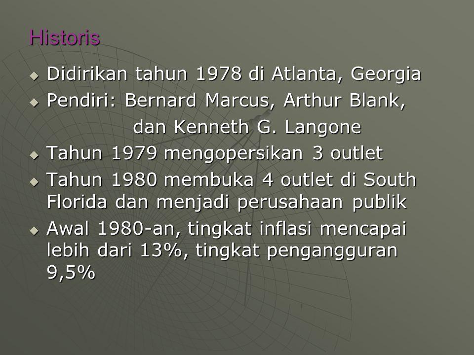 Historis  Didirikan tahun 1978 di Atlanta, Georgia  Pendiri: Bernard Marcus, Arthur Blank, dan Kenneth G.