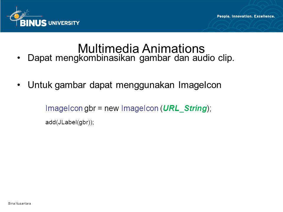 Multimedia Animations Dapat mengkombinasikan gambar dan audio clip. Untuk gambar dapat menggunakan ImageIcon ImageIcon gbr = new ImageIcon (URL_String