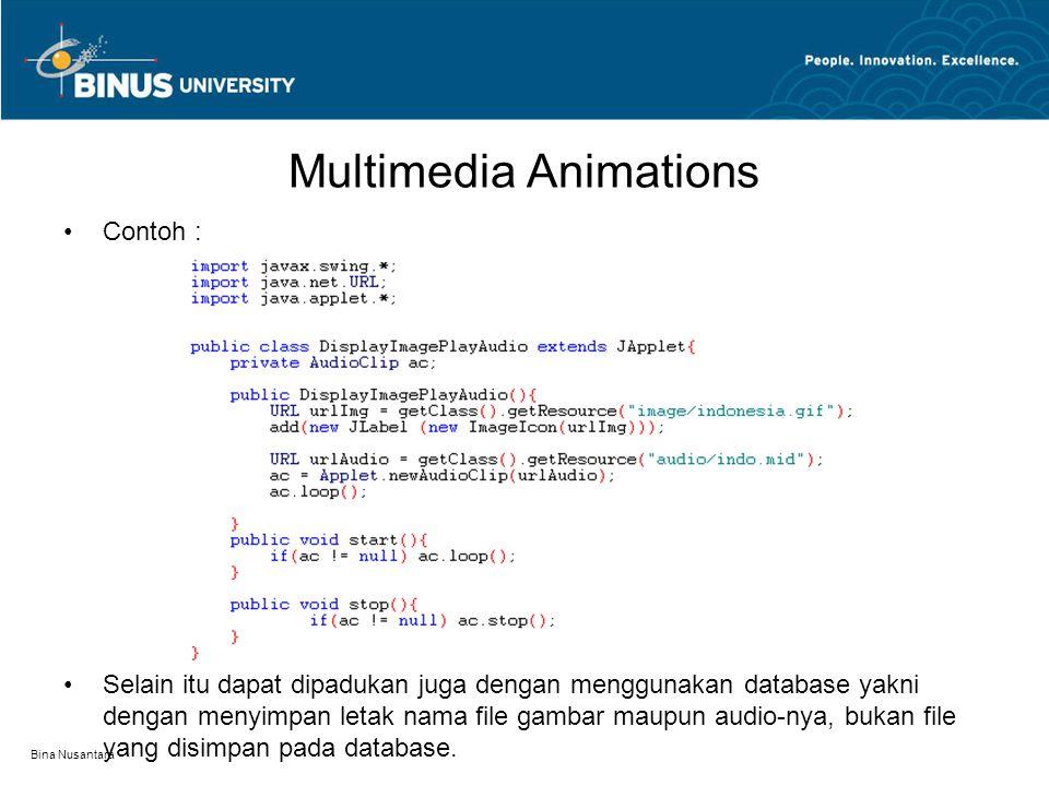 Multimedia Animations Contoh : Selain itu dapat dipadukan juga dengan menggunakan database yakni dengan menyimpan letak nama file gambar maupun audio-