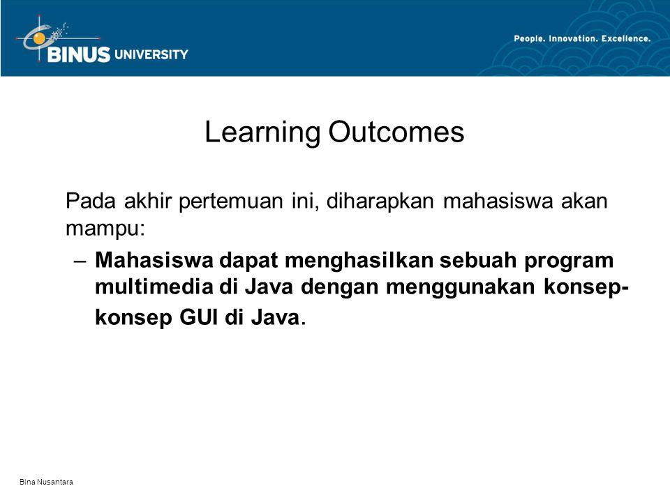 Bina Nusantara Learning Outcomes Pada akhir pertemuan ini, diharapkan mahasiswa akan mampu: –Mahasiswa dapat menghasilkan sebuah program multimedia di