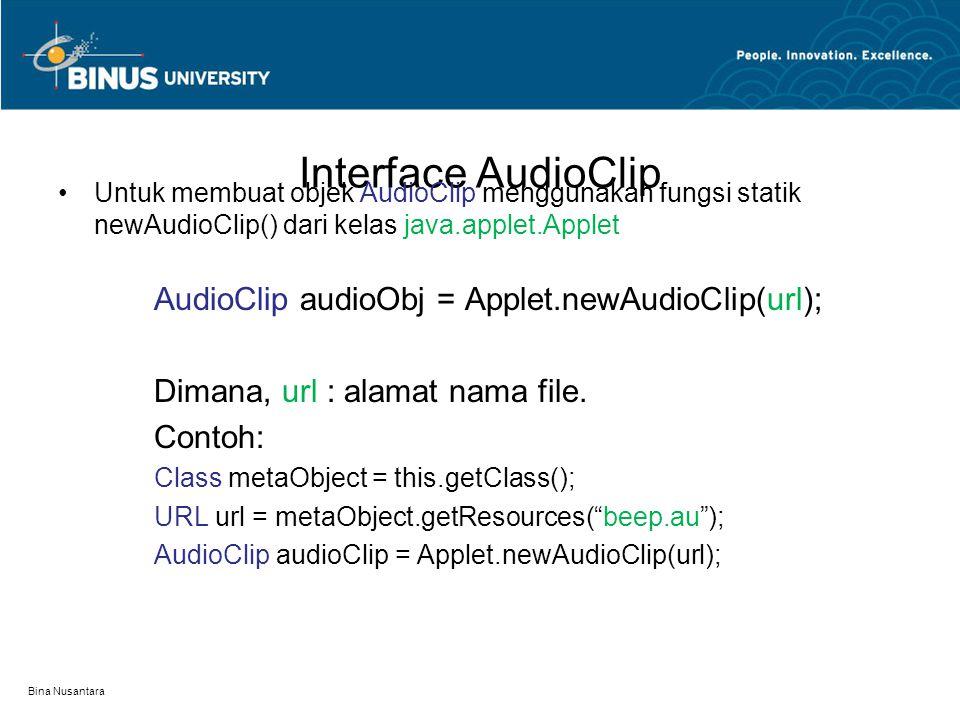 Interface AudioClip Untuk membuat objek AudioClip menggunakan fungsi statik newAudioClip() dari kelas java.applet.Applet AudioClip audioObj = Applet.n