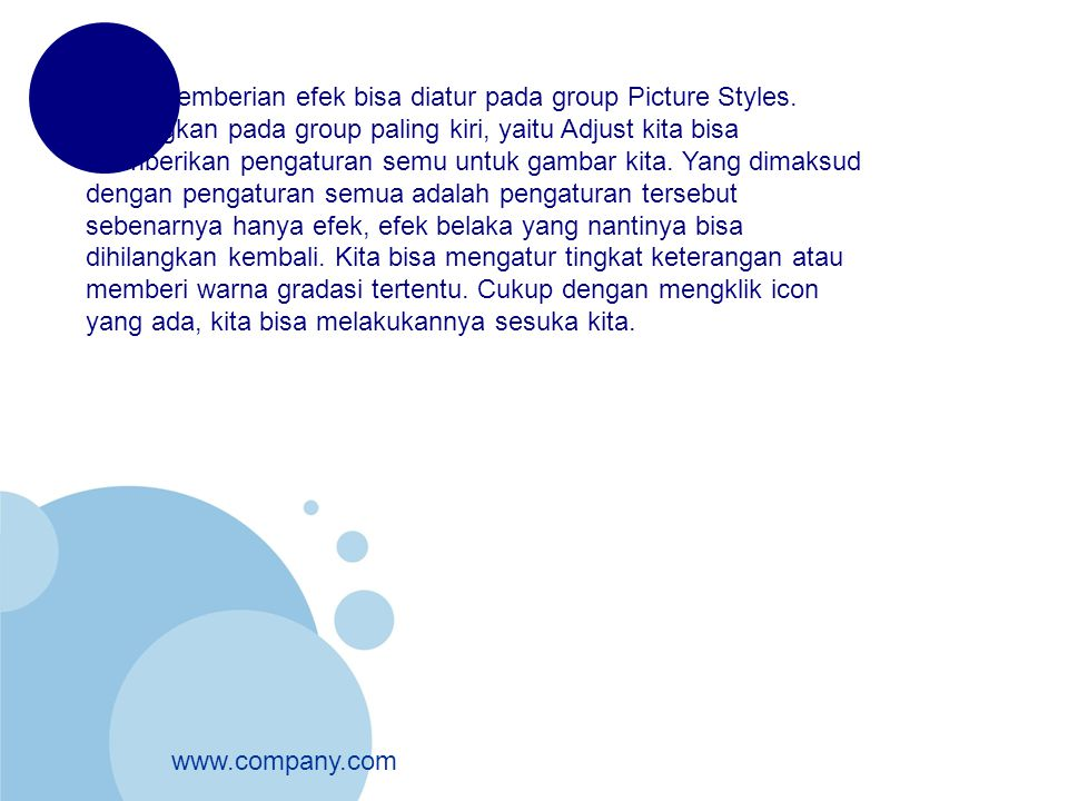 www.company.com Untuk pemberian efek bisa diatur pada group Picture Styles. Sedangkan pada group paling kiri, yaitu Adjust kita bisa memberikan pengat