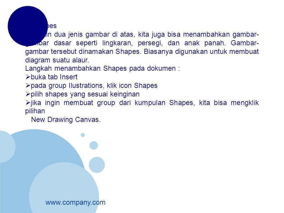 www.company.com Menambahkan Shapes pada dokumen