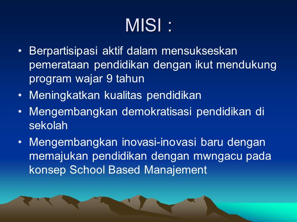 MISI : Berpartisipasi aktif dalam mensukseskan pemerataan pendidikan dengan ikut mendukung program wajar 9 tahun Meningkatkan kualitas pendidikan Mengembangkan demokratisasi pendidikan di sekolah Mengembangkan inovasi-inovasi baru dengan memajukan pendidikan dengan mwngacu pada konsep School Based Manajement
