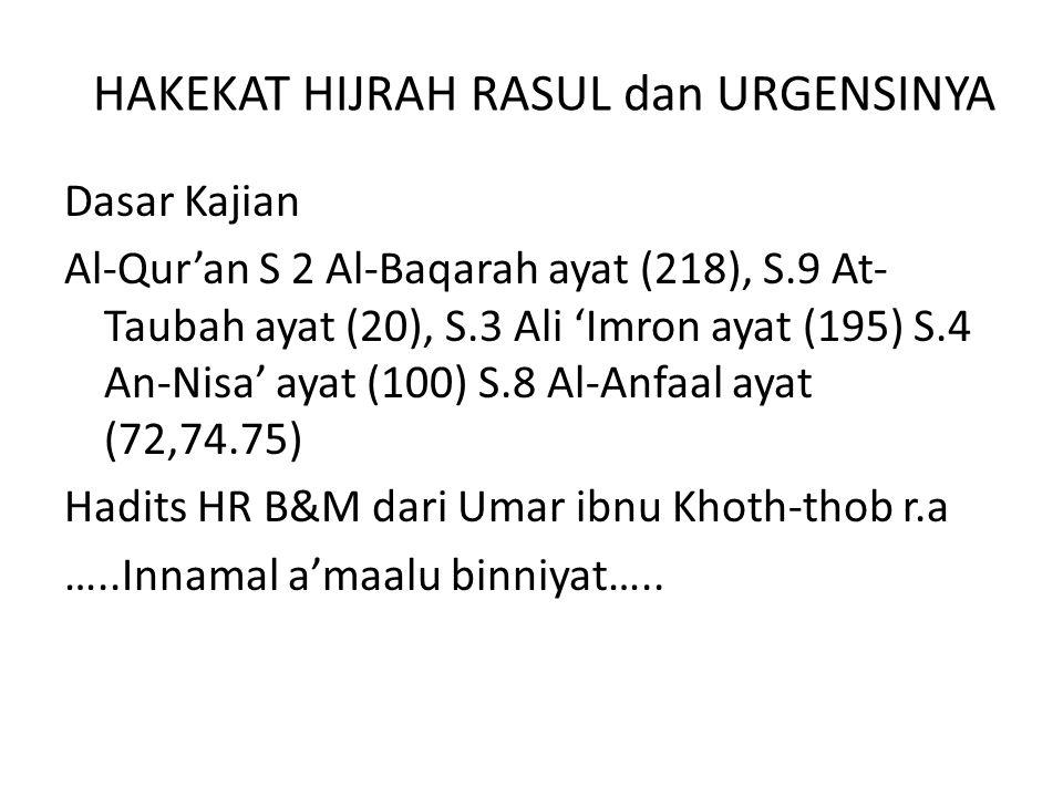 HAKEKAT HIJRAH RASUL dan URGENSINYA Dasar Kajian Al-Qur'an S 2 Al-Baqarah ayat (218), S.9 At- Taubah ayat (20), S.3 Ali 'Imron ayat (195) S.4 An-Nisa'