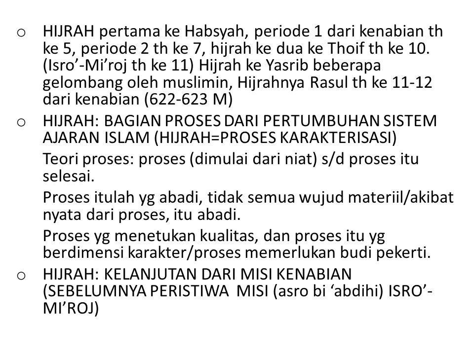 o HIJRAH pertama ke Habsyah, periode 1 dari kenabian th ke 5, periode 2 th ke 7, hijrah ke dua ke Thoif th ke 10. (Isro'-Mi'roj th ke 11) Hijrah ke Ya