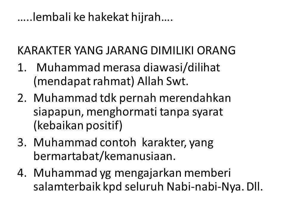 …..lembali ke hakekat hijrah…. KARAKTER YANG JARANG DIMILIKI ORANG 1. Muhammad merasa diawasi/dilihat (mendapat rahmat) Allah Swt. 2.Muhammad tdk pern