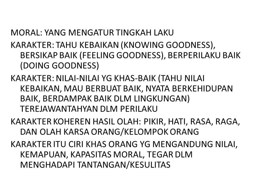 MORAL: YANG MENGATUR TINGKAH LAKU KARAKTER: TAHU KEBAIKAN (KNOWING GOODNESS), BERSIKAP BAIK (FEELING GOODNESS), BERPERILAKU BAIK (DOING GOODNESS) KARA