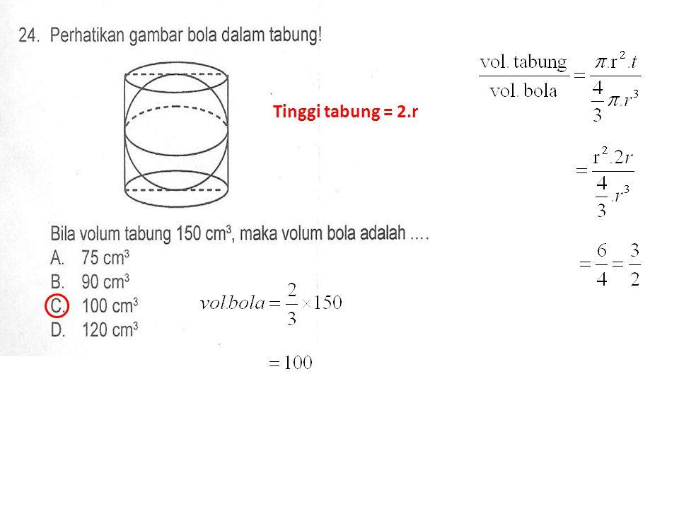 Tinggi tabung = 2.r