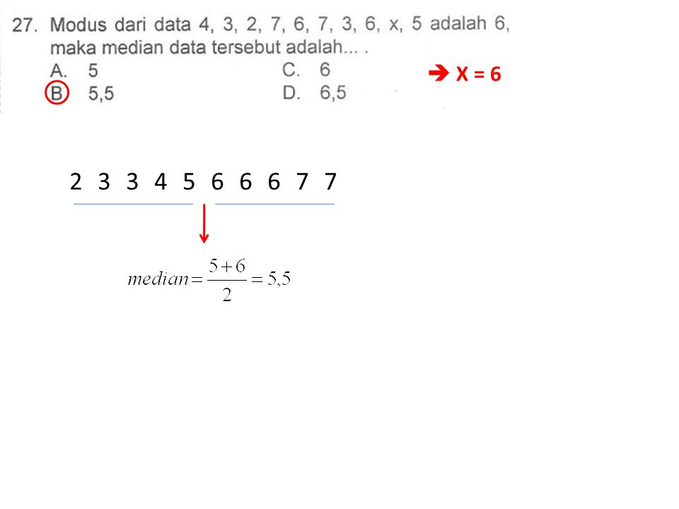  X = 6 2334566677