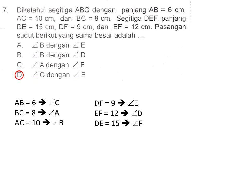 AB = 6   C BC = 8   A AC = 10   B DF = 9   E EF = 12   D DE = 15   F