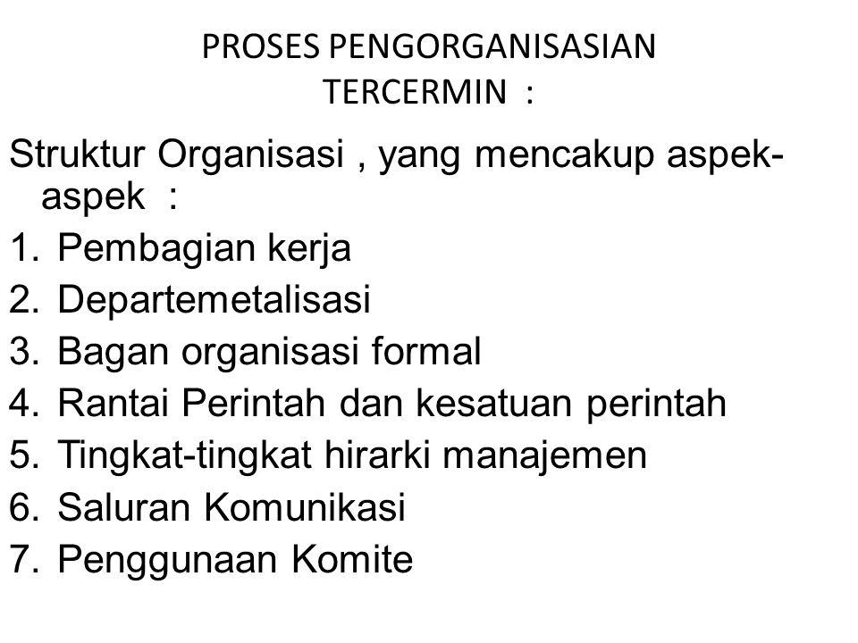 PROSES PENGORGANISASIAN TERCERMIN : Struktur Organisasi, yang mencakup aspek- aspek : 1.Pembagian kerja 2.Departemetalisasi 3.Bagan organisasi formal