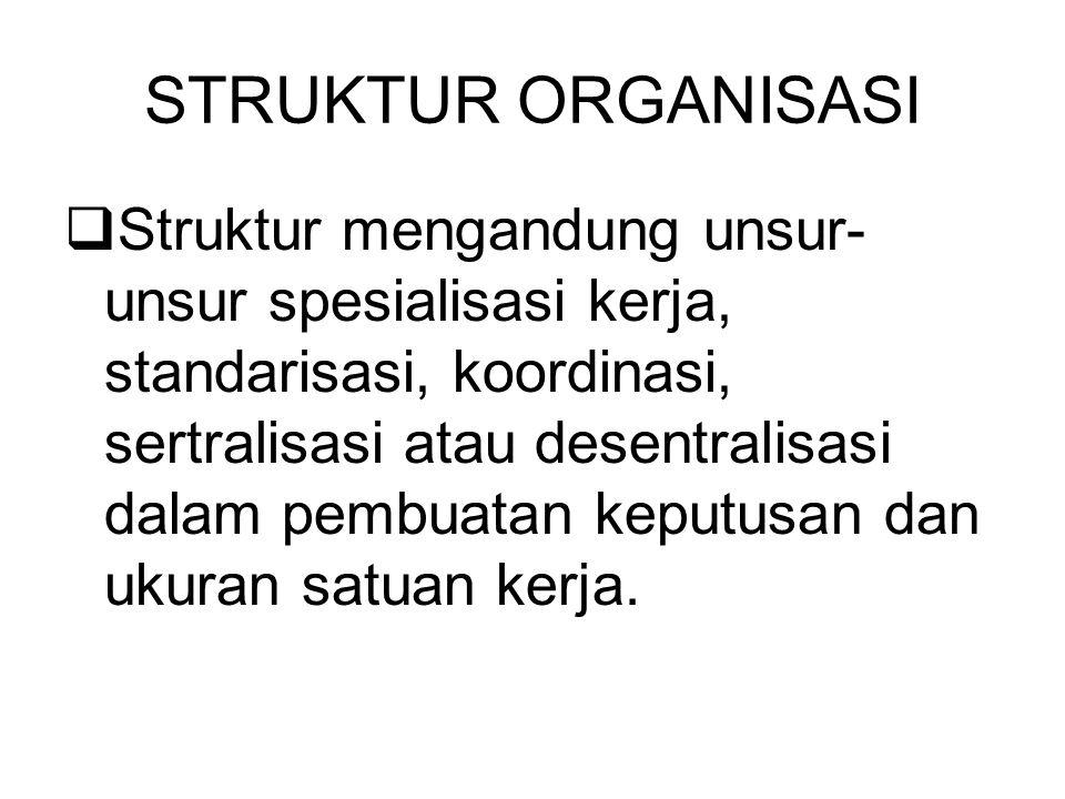 STRUKTUR ORGANISASI  Struktur mengandung unsur- unsur spesialisasi kerja, standarisasi, koordinasi, sertralisasi atau desentralisasi dalam pembuatan