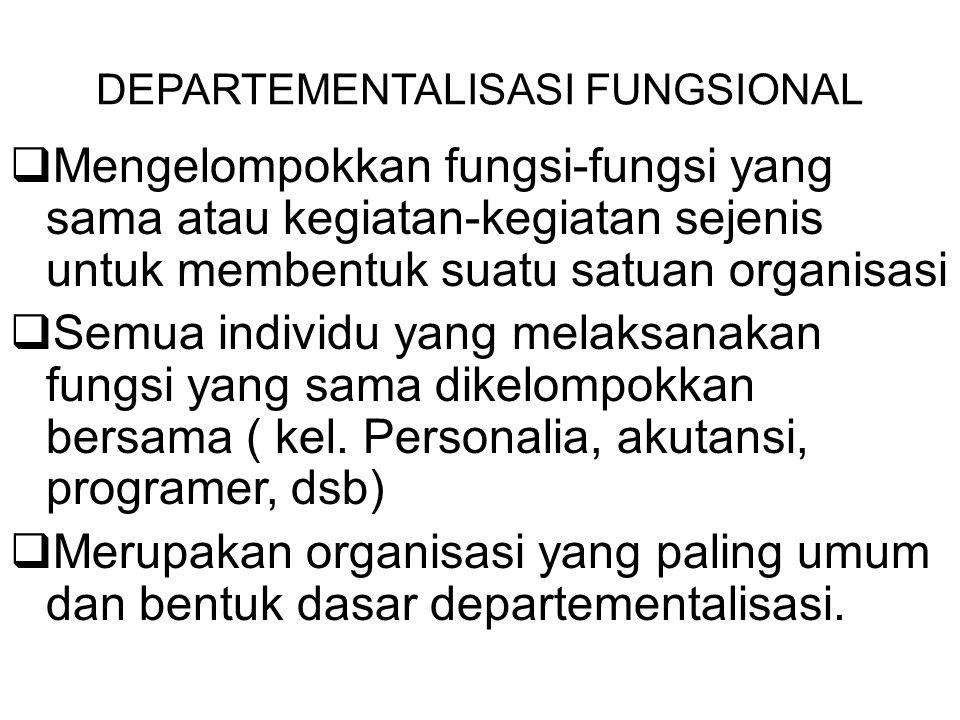 DEPARTEMENTALISASI FUNGSIONAL  Mengelompokkan fungsi-fungsi yang sama atau kegiatan-kegiatan sejenis untuk membentuk suatu satuan organisasi  Semua