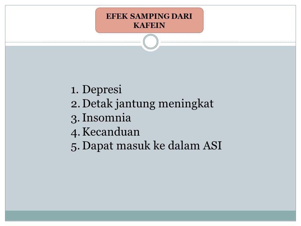 EFEK SAMPING DARI KAFEIN 1.Depresi 2.Detak jantung meningkat 3.Insomnia 4.Kecanduan 5.Dapat masuk ke dalam ASI