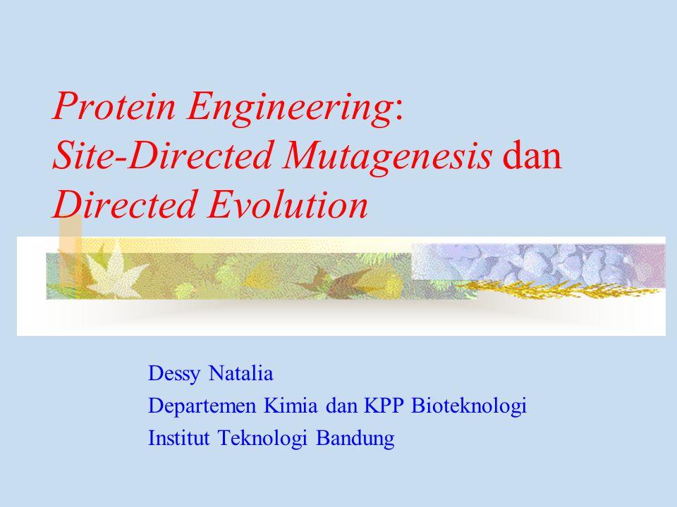 Protein Engineering: Site-Directed Mutagenesis dan Directed Evolution Dessy Natalia Departemen Kimia dan KPP Bioteknologi Institut Teknologi Bandung
