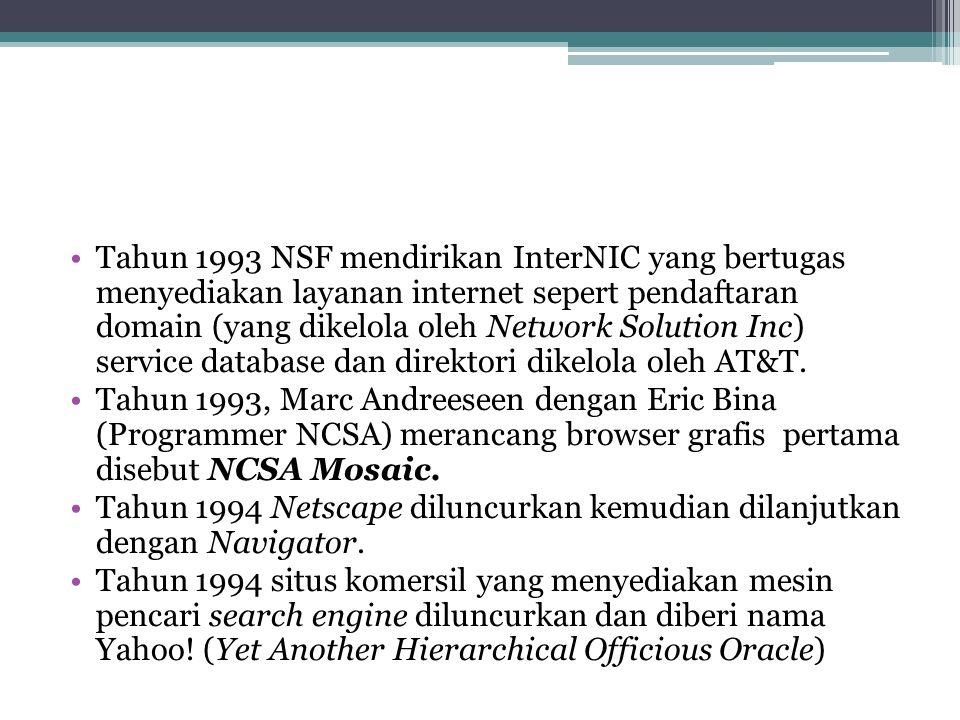 Tahun 1993 NSF mendirikan InterNIC yang bertugas menyediakan layanan internet sepert pendaftaran domain (yang dikelola oleh Network Solution Inc) service database dan direktori dikelola oleh AT&T.