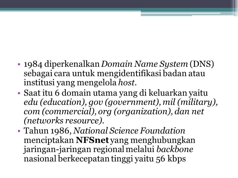 1984 diperkenalkan Domain Name System (DNS) sebagai cara untuk mengidentifikasi badan atau institusi yang mengelola host.