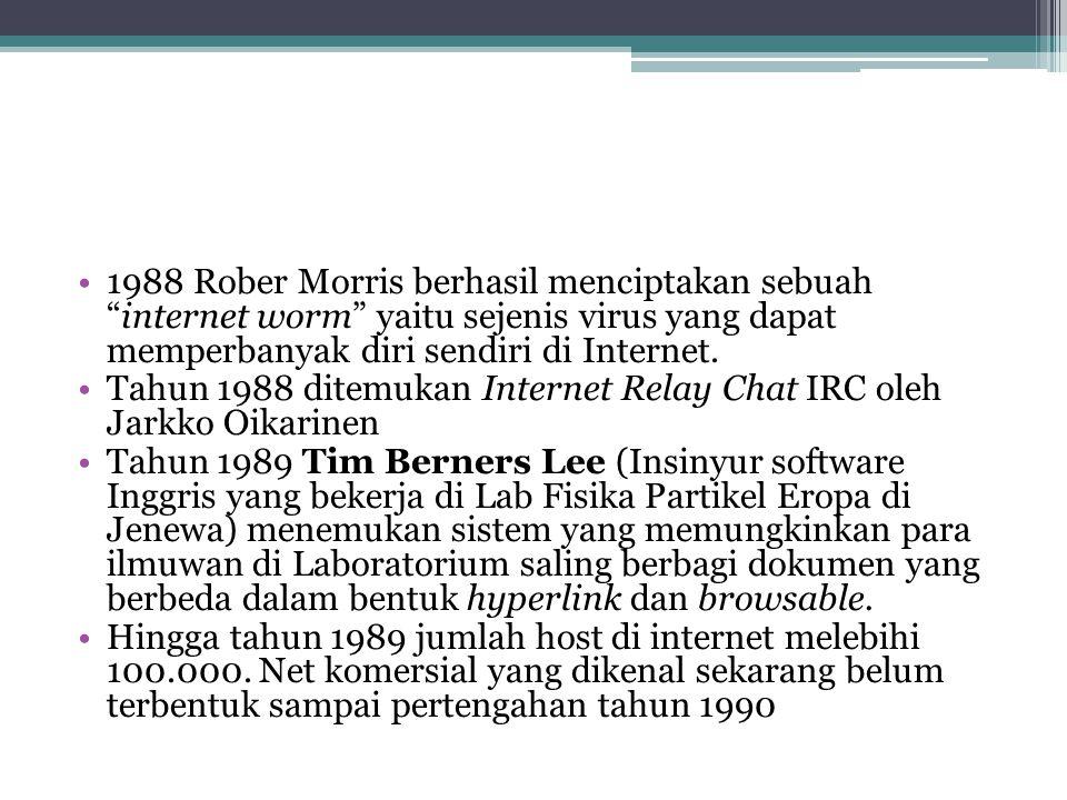 1988 Rober Morris berhasil menciptakan sebuah internet worm yaitu sejenis virus yang dapat memperbanyak diri sendiri di Internet.