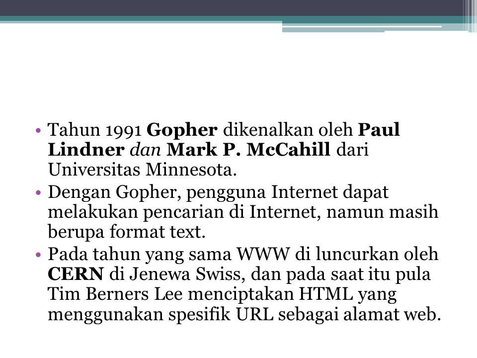 Tahun 1991 Gopher dikenalkan oleh Paul Lindner dan Mark P.