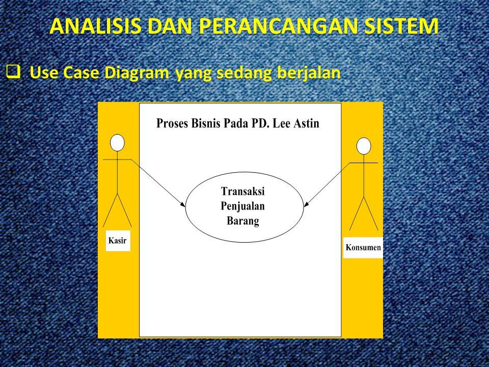 ANALISIS DAN PERANCANGAN SISTEM  Use Case Diagram yang sedang berjalan