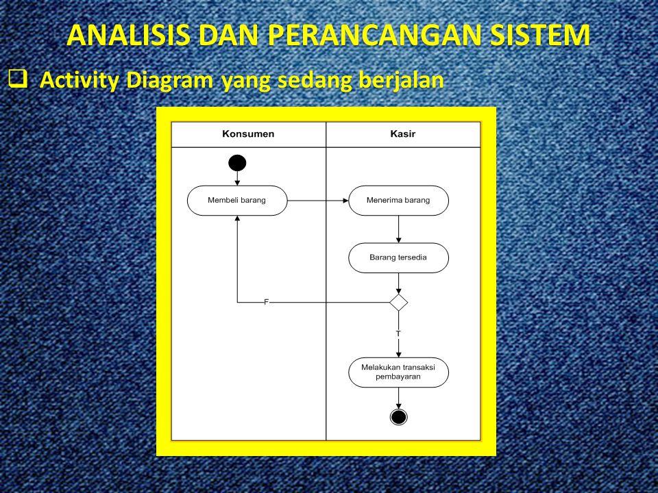 ANALISIS DAN PERANCANGAN SISTEM  Activity Diagram yang sedang berjalan