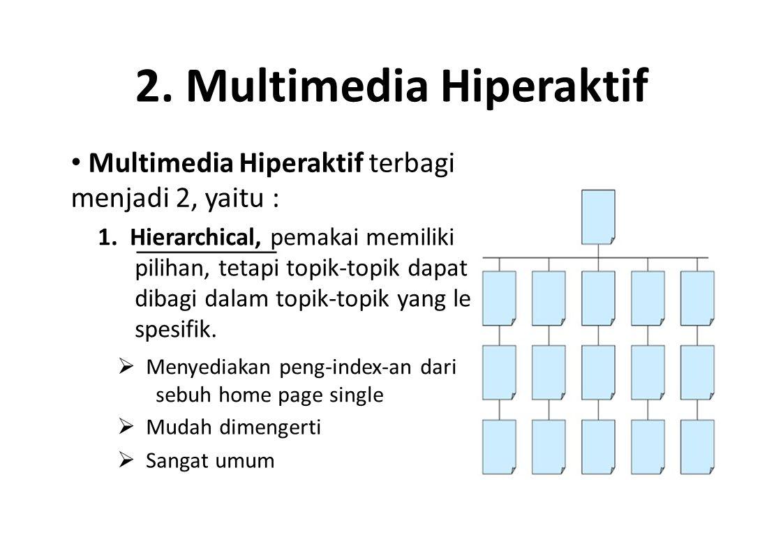 2. Multimedia Hiperaktif Multimedia Hiperaktif terbagi menjadi 2, yaitu : 1. Hierarchical, pemakai memiliki pilihan, tetapi topik-topik dapat dibagi d
