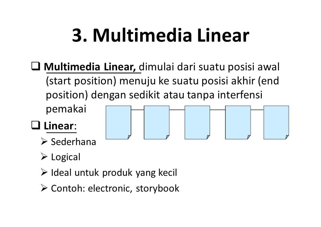3. Multimedia Linear  Multimedia Linear, dimulai dari suatu posisi awal (start position) menuju ke suatu posisi akhir (end position) dengan sedikit a