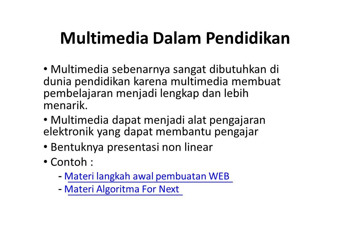 Multimedia Dalam Pendidikan Multimedia sebenarnya sangat dibutuhkan di dunia pendidikan karena multimedia membuat pembelajaran menjadi lengkap dan leb