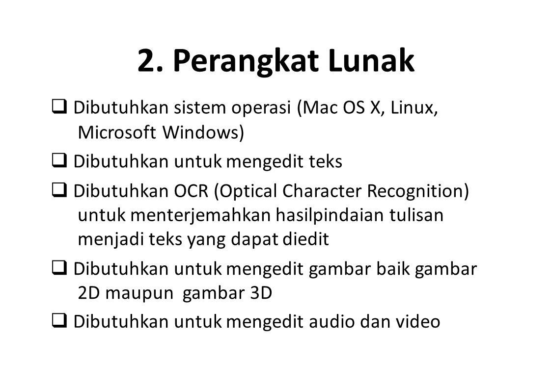 2. Perangkat Lunak  Dibutuhkan sistem operasi (Mac OS X, Linux, Microsoft Windows)  Dibutuhkan untuk mengedit teks  Dibutuhkan OCR (Optical Charact