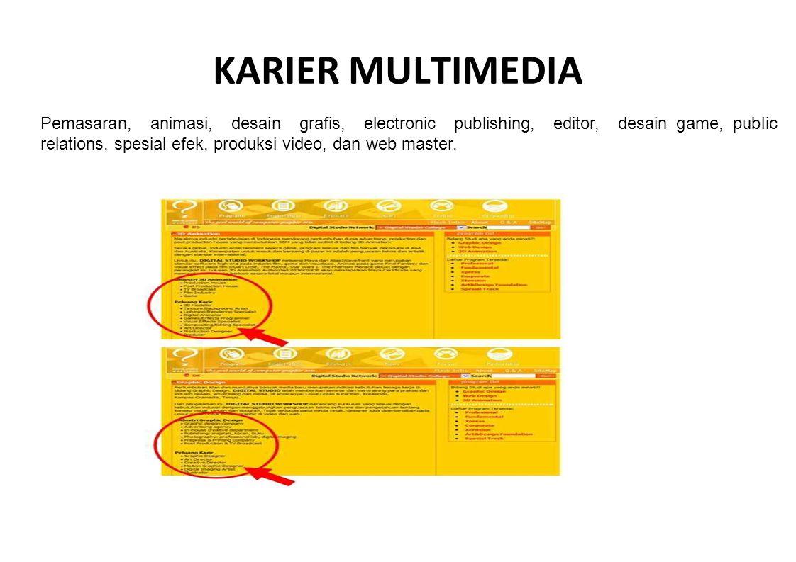 KARIER MULTIMEDIA Pemasaran, animasi, desain grafis, electronic publishing, editor, desain game, public relations, spesial efek, produksi video, dan w