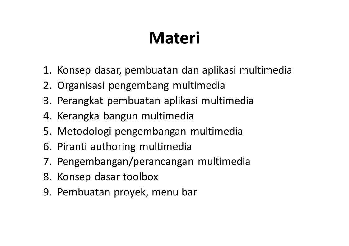Materi 1. Konsep dasar, pembuatan dan aplikasi multimedia 2. Organisasi pengembang multimedia 3. Perangkat pembuatan aplikasi multimedia 4. Kerangka b