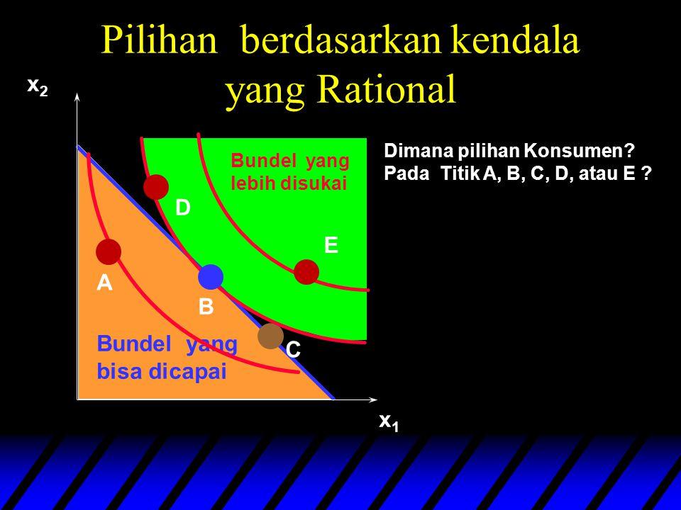 Pilihan berdasarkan kendala yang Rational Bundel yang bisa dicapai x1x1 x2x2 Bundel yang lebih disukai A B C E Dimana pilihan Konsumen.