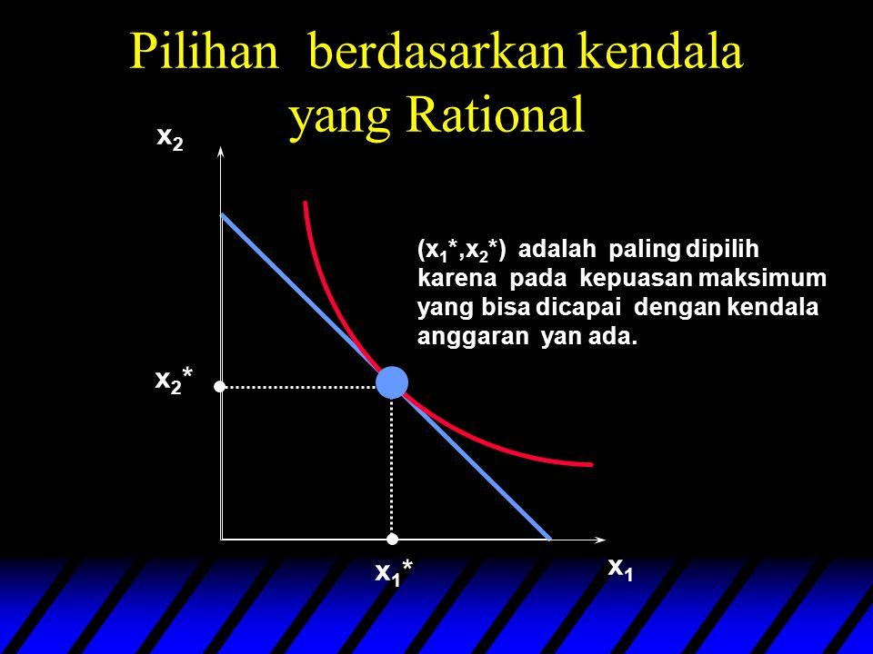 x1x1 x2x2 x1*x1* x2*x2* (x 1 *,x 2 *) adalah paling dipilih karena pada kepuasan maksimum yang bisa dicapai dengan kendala anggaran yan ada.