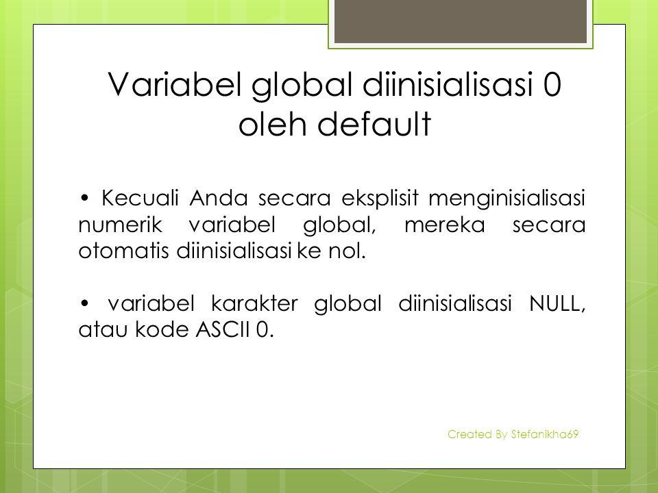 Variabel global diinisialisasi 0 oleh default Kecuali Anda secara eksplisit menginisialisasi numerik variabel global, mereka secara otomatis diinisial