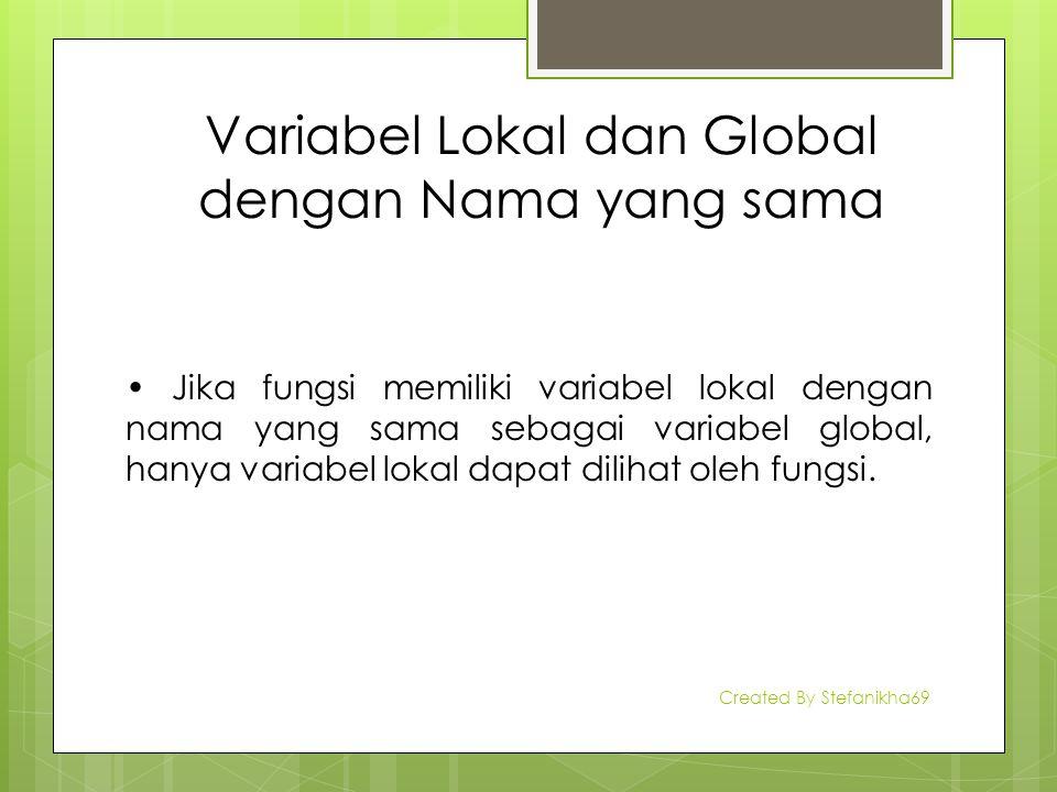 Variabel Lokal dan Global dengan Nama yang sama Jika fungsi memiliki variabel lokal dengan nama yang sama sebagai variabel global, hanya variabel loka