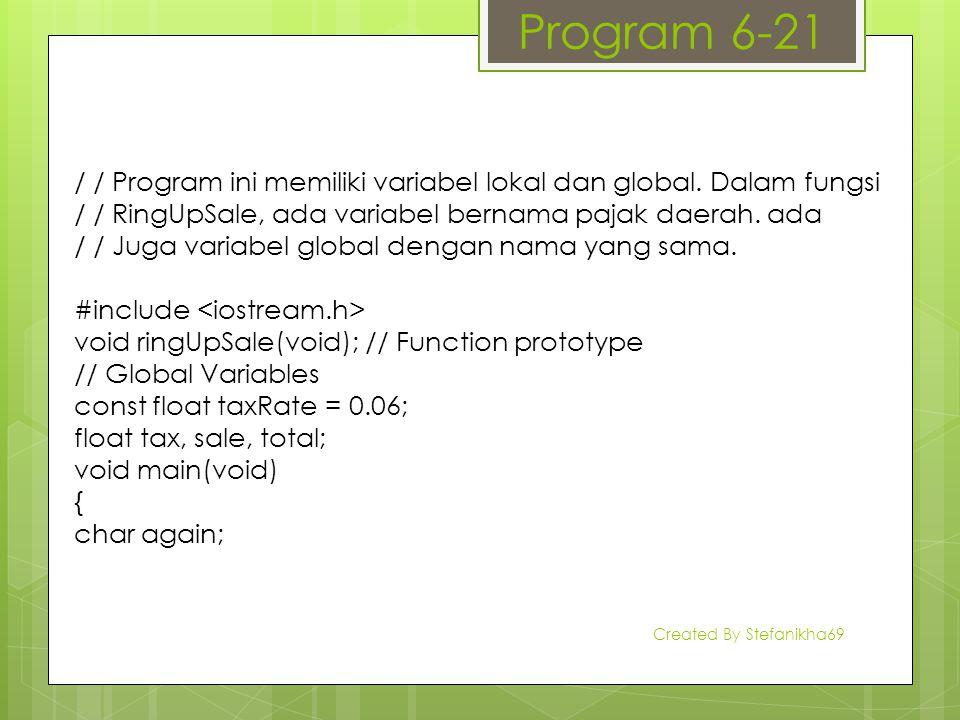 Program 6-21 / / Program ini memiliki variabel lokal dan global. Dalam fungsi / / RingUpSale, ada variabel bernama pajak daerah. ada / / Juga variabel