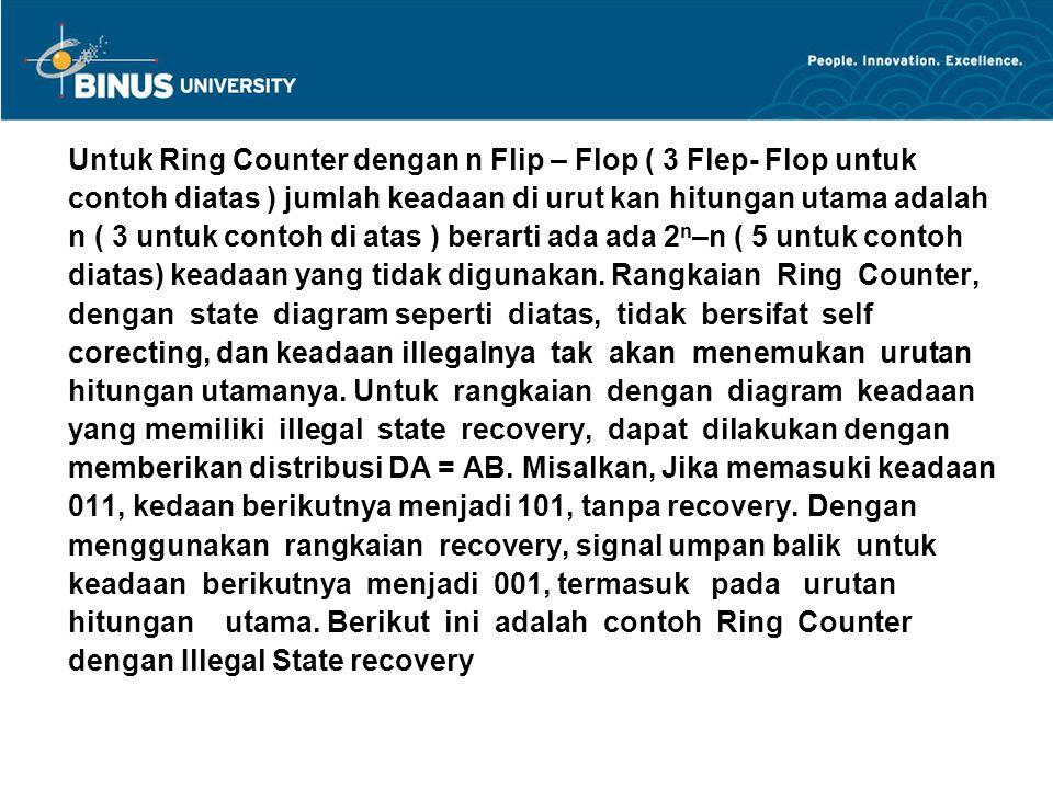 Untuk Ring Counter dengan n Flip – Flop ( 3 Flep- Flop untuk contoh diatas ) jumlah keadaan di urut kan hitungan utama adalah n ( 3 untuk contoh di at