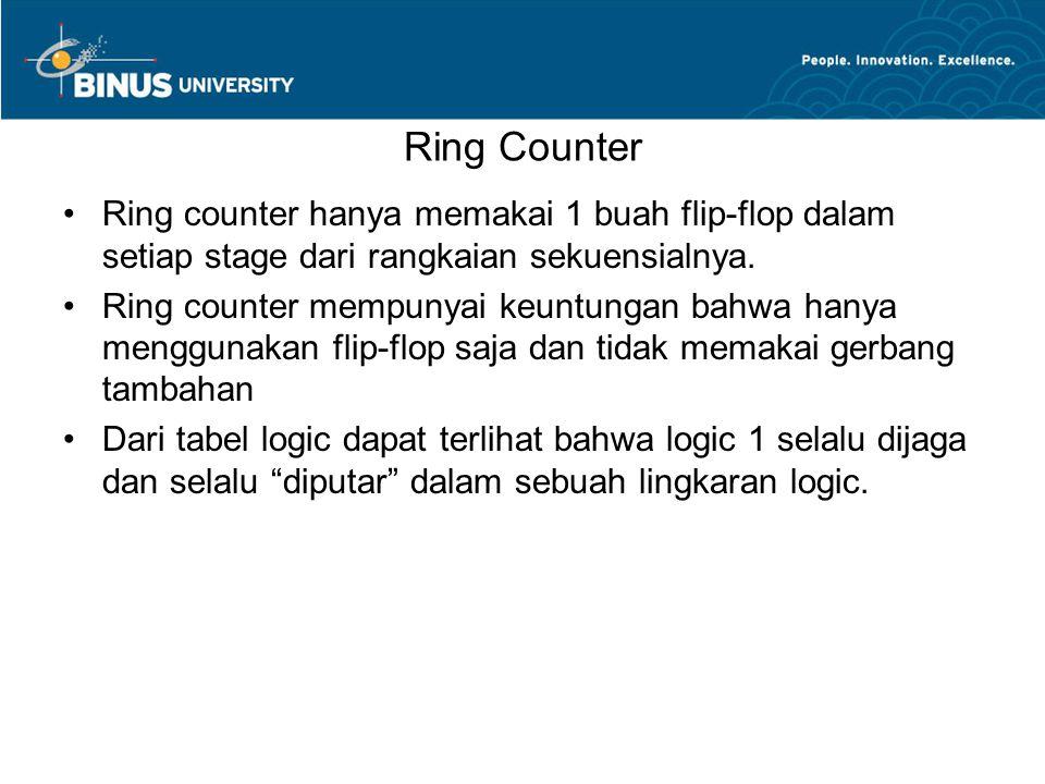Ring Counter Ring counter hanya memakai 1 buah flip-flop dalam setiap stage dari rangkaian sekuensialnya. Ring counter mempunyai keuntungan bahwa hany